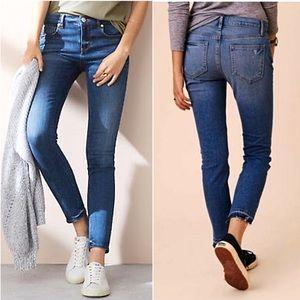 LOFT Lou & Grey Skinny Ankle Jeans Frayed Raw Hems